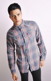 Check Flannel Shirt In Navy